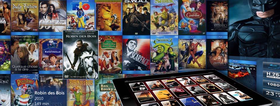 Collection de films sur serveur audio vidéo multiroom, piloté par ipad, dvd et blu-ray