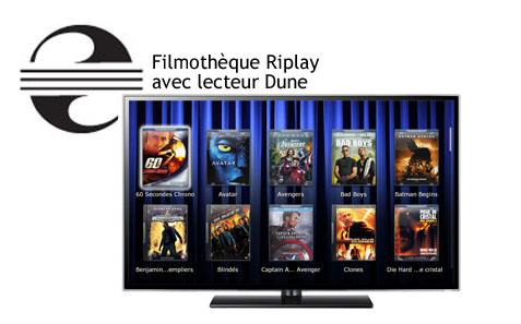 Filmothèque DVD et Blu-ray affichée avec un lecteur Dune - Serveur Riplay