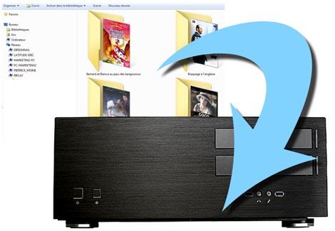 copier coller les fichiers film divx et mkv sur un serveur multiroom