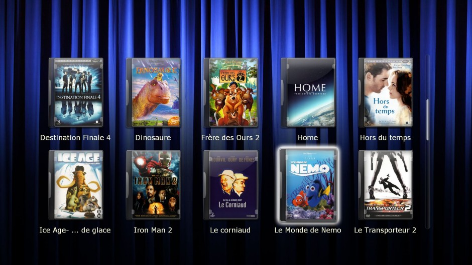 Choix avec les pochettes des films dvd et blu-ray stockés sur le serveur Riplay Media Server