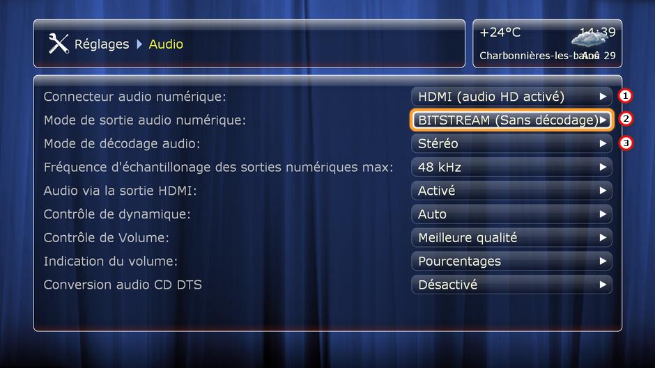 Paramétrage de la section audio du lecteur Dune