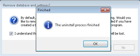 Fin de la suppression de la base de données